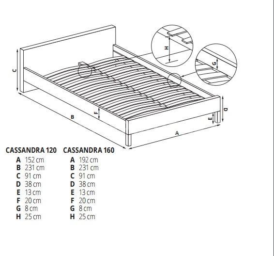 Manželská postel CASSANDRA 120