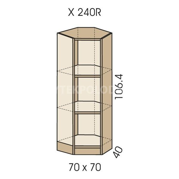 Rohová skříň JIM 5 X 240R