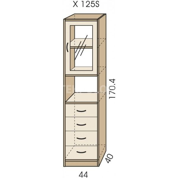 Regál se zásuvkami JIM 5 X 125S