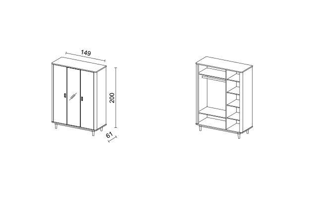 Šatní skříň FLORENCIA 3D SKLADEM