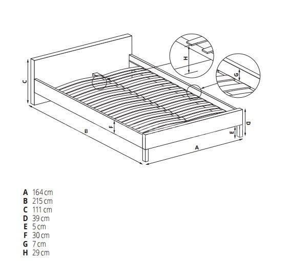 Manželská postel EVORA