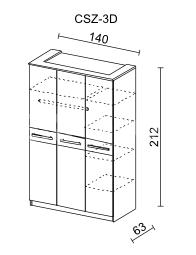 Šatní skříň CREMONA II 3D