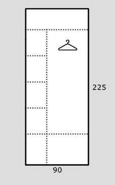 Rohová šatní skříň REA AMY 32/225