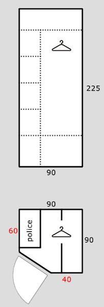 Rohová šatní skříň REA AMY 33/225
