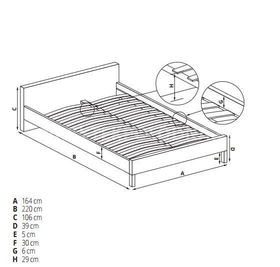 Manželská postel MODENA 2 160