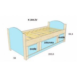 Dětská postel BOŘEK K 204 ZV