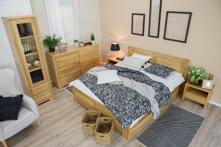 Manželská postel z masivu LK212 dub